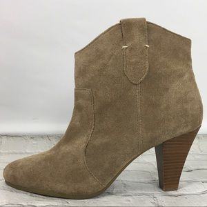 Nine West Sweetsent Taupe Suede Ankle Boots Sz 12M